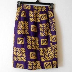 VTG 90s Batik Purple OOAK Skirt Sz 7